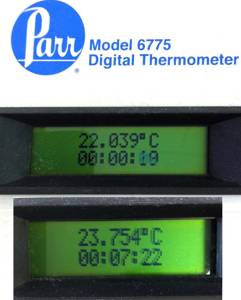 La température dans le calorimètre s'est accrue de 1.7°C avec la combustion du chocolat !